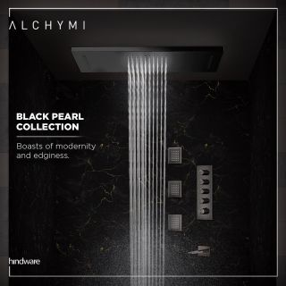 Bring home the modern edgy vibes. Create an intimate, sleek, and nice environment with the Black Pearl collection from Alchymi.  Explore more on the website - Link in Bio  #AlchymiByHindware #Alchymi #Hindware #HindwareHomes #DesignerCollection #CuratedByManishMalhotra #BlackPearl #RainShower #Shower